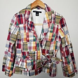 ⭐Larry Levine Madras Women's patchwork jacket sz 6